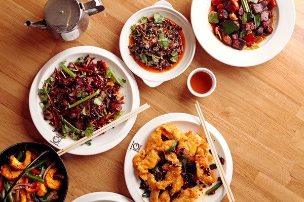 Clockwise from left: Hunan pork liver, tai gan Hunan style, Chairman Mao's favorite pork belly, dry chile tilapia fillet - JEFFREY MARINI