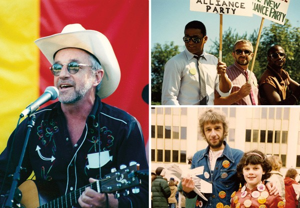 Clockwise: Patrick Haggerty onstage at the Seattle Pride in 2000; Haggerty (center) campaigning for state senate in Washington in 1988, with running mates from the Nation of Islam; Haggerty politicking with his daughter, Robin, in 1981 - COURTESY PARADISE OF BACHELORS