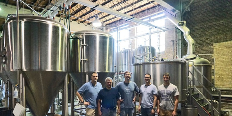 Co-owner Andy Smith, operations director Tom Inghram, co-owners Brian Schafer and Jamie Hoban, and head brewer Brian LaGro