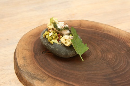 Dandelion custard with pistachio crumble, pickled mini-mushrooms, pistachio sponge, poached oyster, sea grapes, and olive oil
