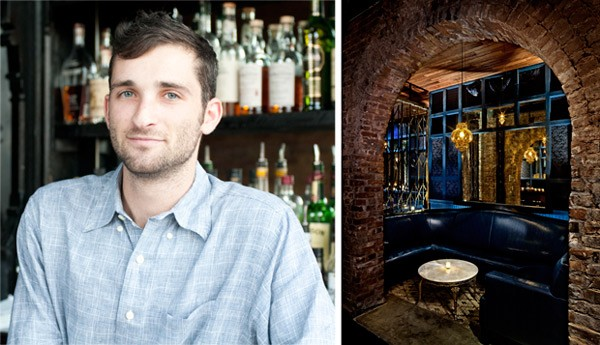 """Danny Shapiro, the creative force behind Scofflaw's cocktails, stops short of an """"exclusively gin"""" joint such as New York's Madam Geneva (right). - ANDREA BAUER; MADAM GENEVA"""