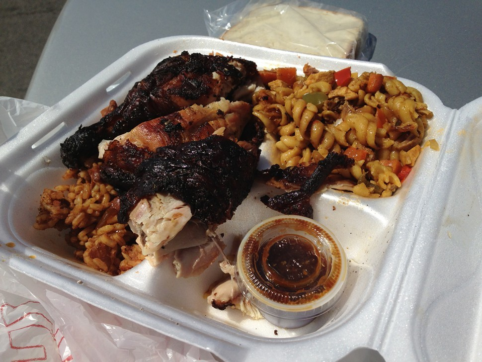 Dark jerk chicken and jerk pasta