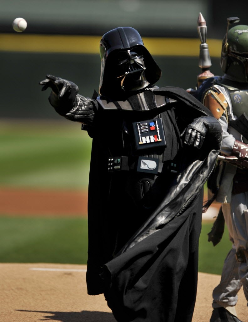 Darth Vader throws out the first pitch at the Cell Saturday. The Force was with the Sox.