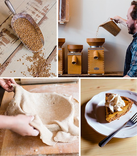 Dave Miller demonstrate how to transform raw grain into Megan's great-grandparents' butterscotch pie. - LUCY HEWETT
