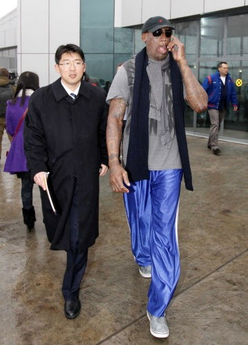 Dennis Rodman arriving in Pyongyang yesterday