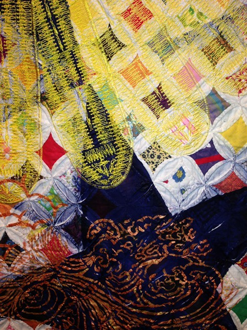 Detail of a Sanford Biggers quilt
