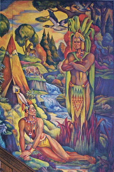 Detail of a WPA mural at Lane Technical College Prep depicting Hiawatha