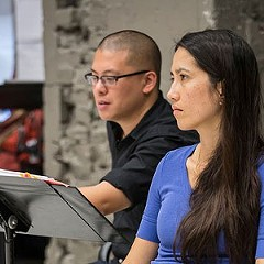 Director Eric Ting and playwright Frances Ya-Chu Cowhig in rehearsal for The World of Extreme Happiness.