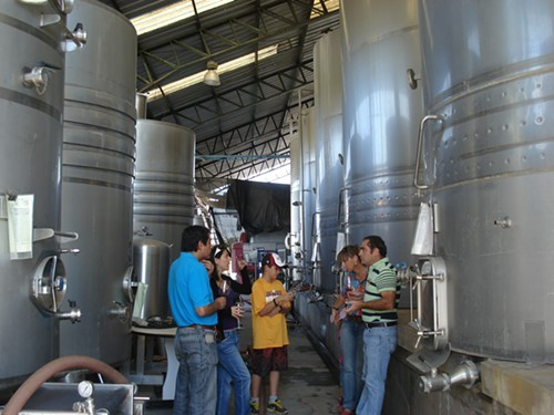Discussing wine among the tanks