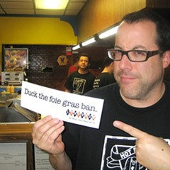 Doug Sohn with a bumpersticker I made, 2006
