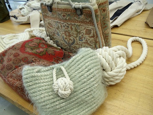 Elizabeth Alice Crums bags made from upcycled carpets, industrial ropes, and mohair