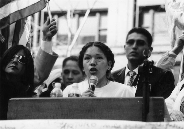 Elvira Arellano at the Union Park rally in March 2006