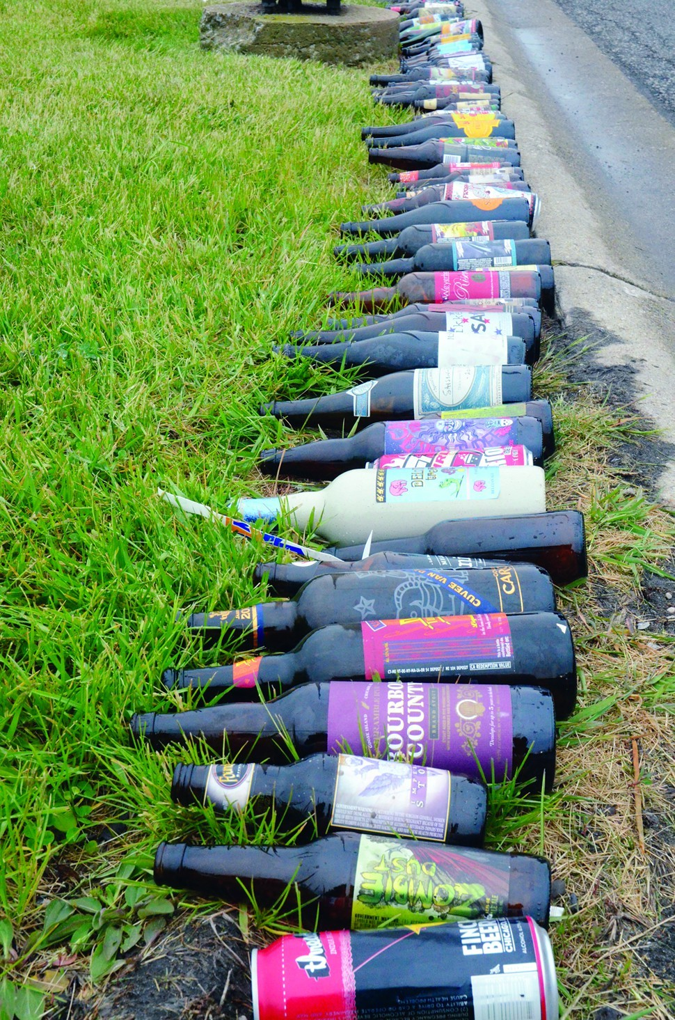 Empty bottles lined up by the side of the road during Dark Lord Day