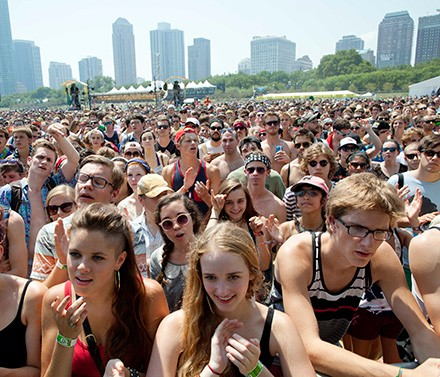 Fans gather for a performance by Yellow Ostrich XX at last year's Lollapalooza.