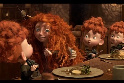Fantastic hair with characters attached, in Brave