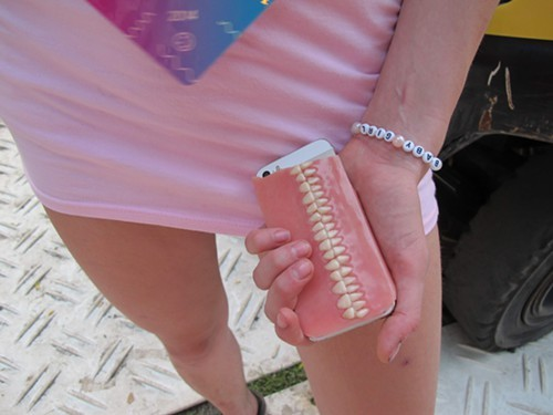 Felicias phone cover was made from an actual denture!