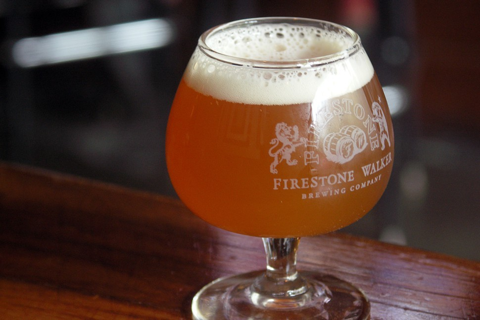 Firestone Walkers Helldorado barleywine, in an adorable snifter with a bowl the size of a small plum