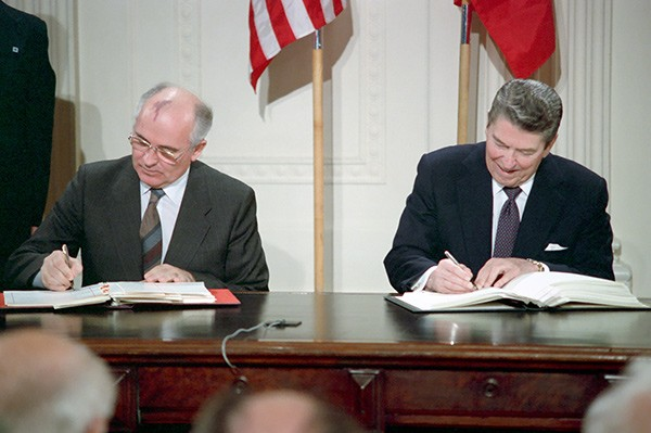 For years President Ronald Reagan fired up conservatives by railing against communism, but in 1987 he signed a treaty with Soviet leader Mikhail Gorbachev to reduce nuclear weapons.