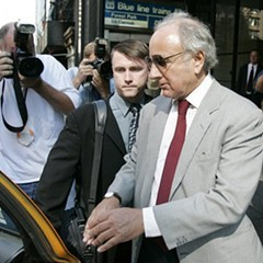 Former Sun-Times publisher David Radler pictured in 2005, right after he pleaded guilty to wrongfully diverting funds away from the paper's parent company