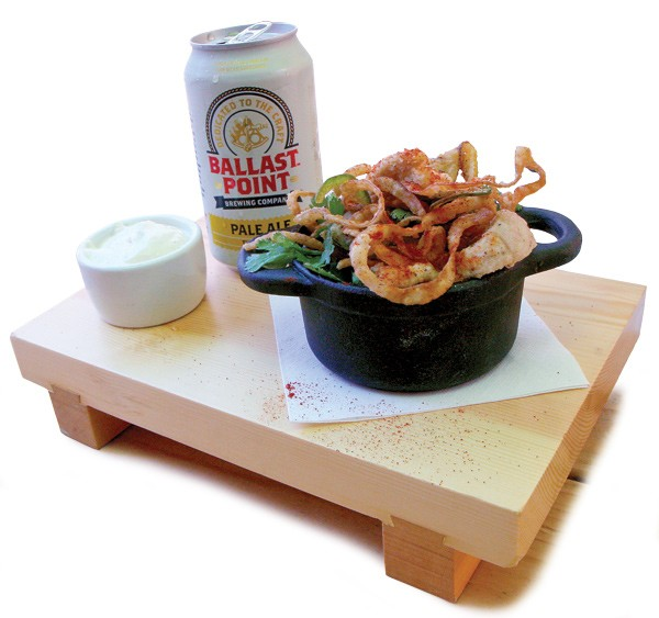 Fried goat testicles, onion, lemon, and jalapeño with preserved-lemon aioli - JULIA THIEL