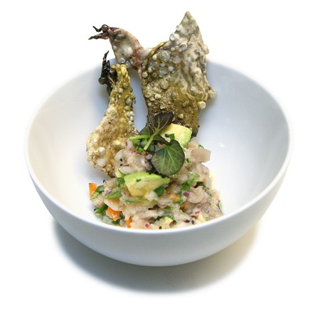 "Frog ceviche with frog-skin ""chips"""