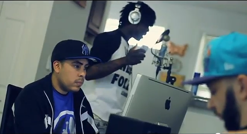 From left to right: Embassy, Chief Keef, and Ghetty in the Cuz My Gear video