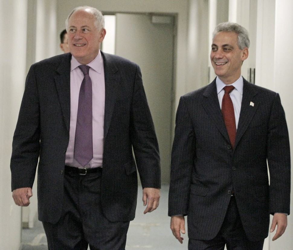 Gov. Quinn and Mayor Emanuel look happy here, but supposedly theyre not on speaking terms at the moment.