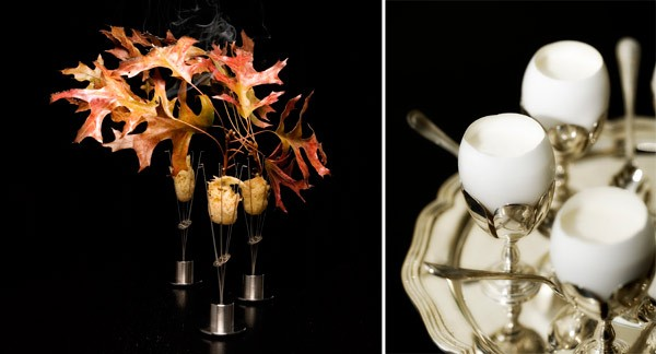 Grant Achatz then and now: Pheasant, shallot, cider, burning oak leaves at Alinea; truffled custard and brandade at Next