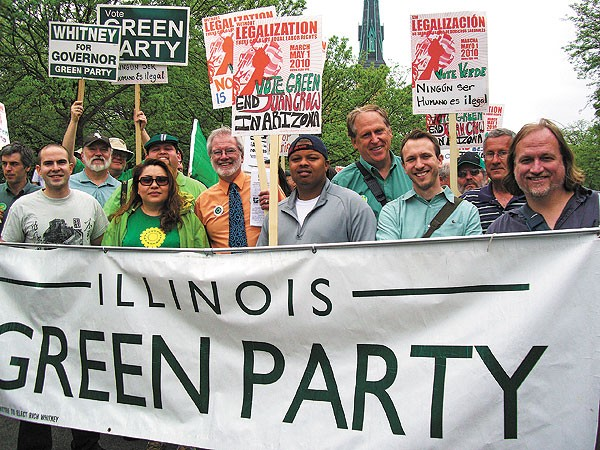 Green Party candidates, from left: Simon Ribeiro, George Milkowski, Paloma Andrade, Alberto Bocanegra (in back), Rich Whitney, LeAlan Jones, Scott Summers, Jeremy Karpen, Bob Mueller, Rob Burns