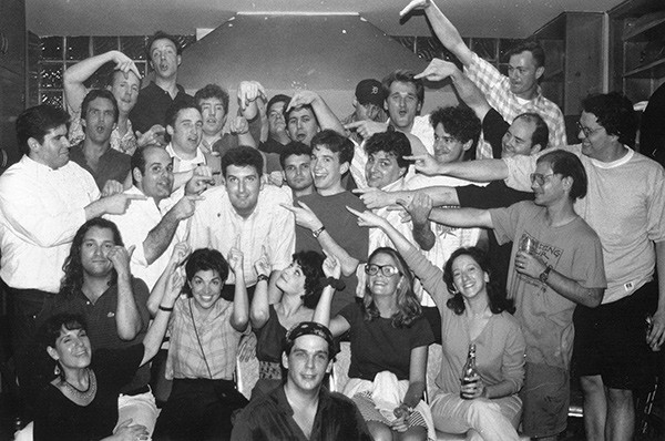 Halpern, lower left, circa 1995 with the original Armando cast, including Matt Besser, Jimmy Carrane, Armando Diaz, Peter Gwinn, David Koechner, Susan Messing, Brian Stack, and Matt Walsh - SUZIE GARDNER