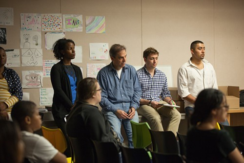 Harvey (center) and some of the actors and interviewees from How Long Will I Cry? at a presentation at Thurgood Marshall branch of Chicago Public Library in Grand Crossing.
