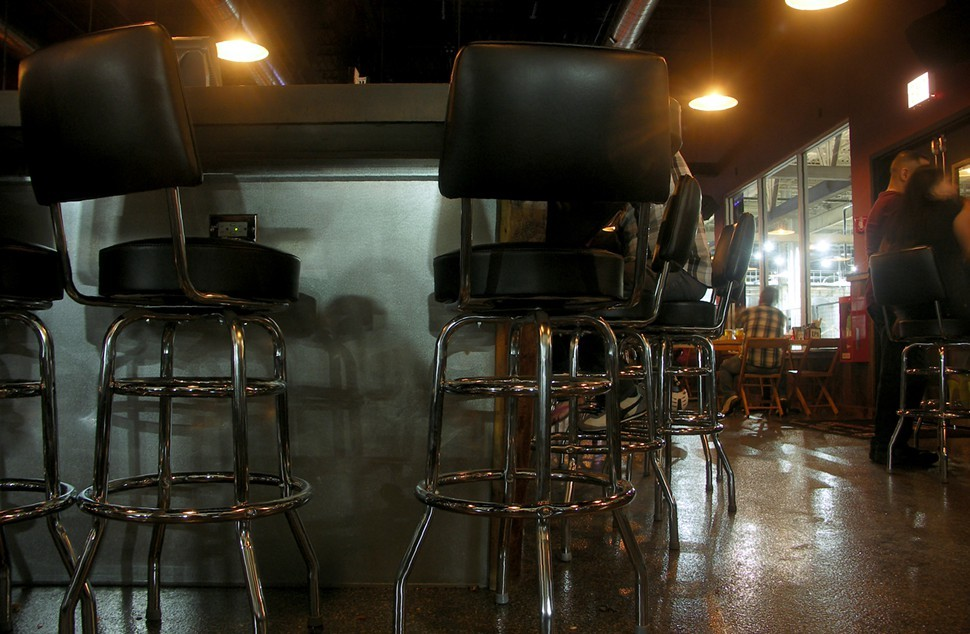 I looked pretty silly getting this shot of the bar stools. Notice the power outlet above the seat to the left?