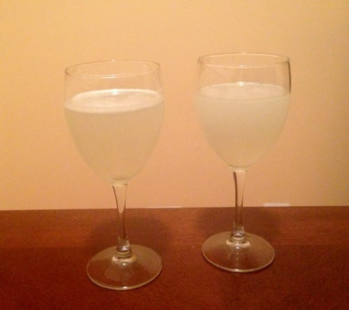 I think thats the lime pisco sour on the left and the lemon on the right. They looked pretty much identical, though.