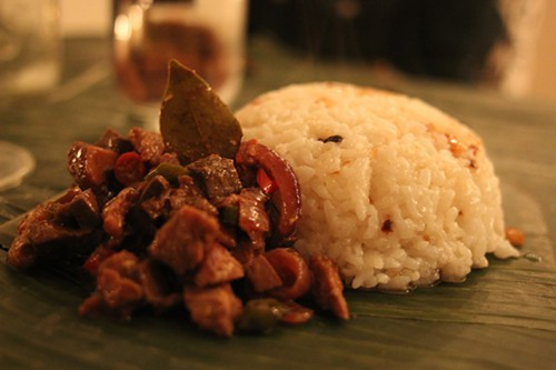 Igado (braised pork tenderloin and liver with garlic rice.