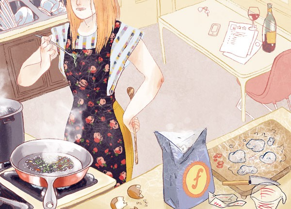 [Illustration by Celine Loup of cooking pierogis]