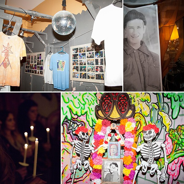 Images from the April tribute to Ellingsen, clockwise from upper right: A picture of Ellingsen as a young man; Carrie Vinarsky's Grateful Ray Altar; amemorial candle ceremony; an exhibit of Ellingsen's band T-shirts and photos - PARKER BRIGHT