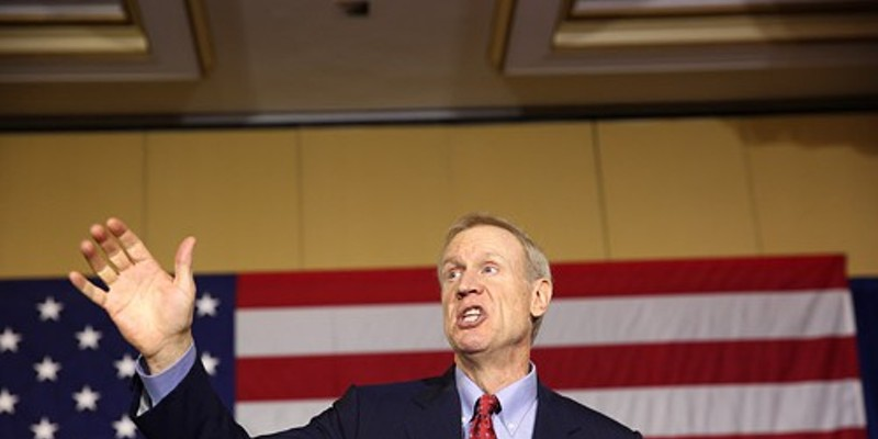 In his acceptance speech Tuesday night, Bruce Rauner tells his supporters he'd spoken personally with House Speaker Michael Madigan and Senate President John Cullerton. Well, not personally personally.