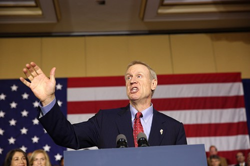 In his acceptance speech Tuesday night, Bruce Rauner tells his supporters hed spoken personally with House Speaker Michael Madigan and Senate President John Cullerton. Well, not personally personally.