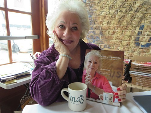 Ina Pinkney with her cookbook Taste Memories.