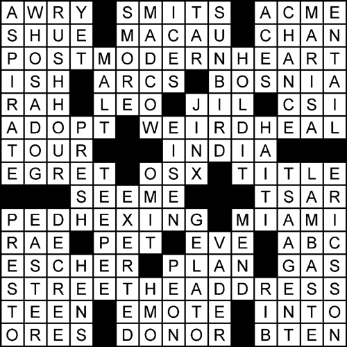 inkwell crossword puzzle: Man in the Middle solved