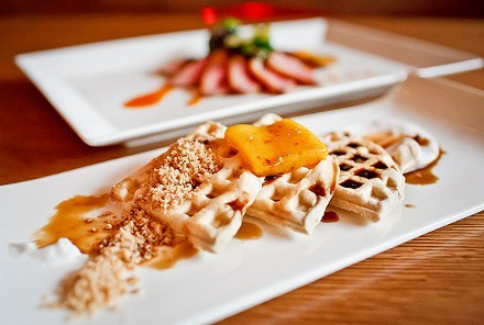 """Inverted"" waffles with mango sorbet"