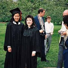 Iris Chang and Paula Kamen on their graduation day at the U. of I., 1989