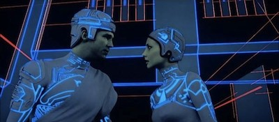 Jeff Bridges and Cindy Morgan in Tron