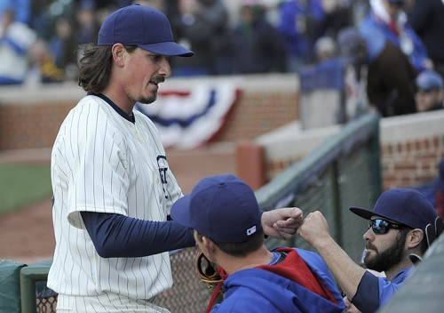 Jeff Samardzija leaves an April game against the Diamondbacks in the eighth with a  5-2 lead. The Cubs lost, 7-5.