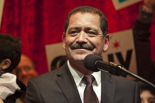 Jesus Garcia addresses supporters at the Alhambra Palace last night after learning he made it into a runoff with Mayor Rahm Emanuel.