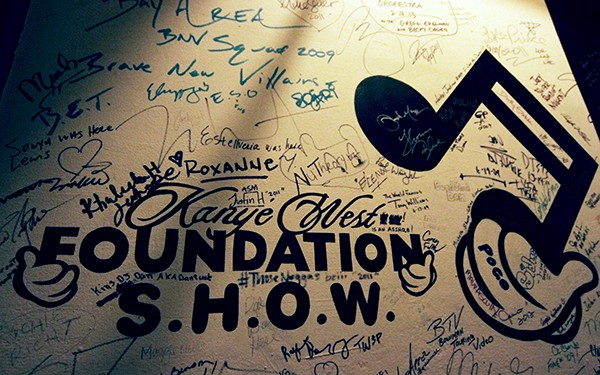 Kanye West signed the wall when he played a benefit concert at the theater in 2009.