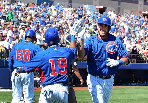 Kris Bryant, after homering in March during a spring training game in Las Vegas.