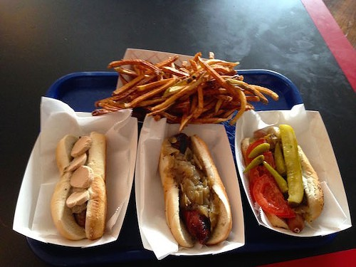l-r: duck sausage, thuringer, Chicago dog