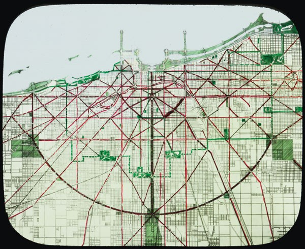 "Lantern slide of the street and boulevard system, ""present and proposed,"" from the Plan of Chicago"