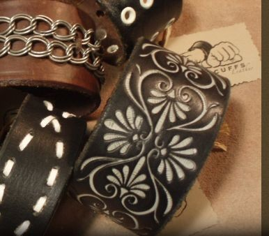 Leather cuffs by Fisticuffs, available at Renegade Handmade